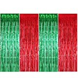 ENTHUR Christmas Party Decoration Backdrop Foil Curtains 1×2.5m×4 Pack Metallic Fringe Door Curtains Shimmer Tinsel Curtain for Birthday Wedding Party Halloween Christmas Decorations
