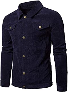 Faqukae Men's Long Sleeve Corduroy Tops Turn Down Collar Jacket Coat Outwear with Pocket Present Gift