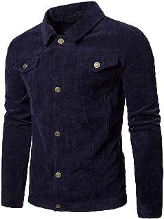 Faqukae Men's Long Sleeve Corduroy Tops Turn Down Collar Jacket Coat Outwear with Pocket Present Gift