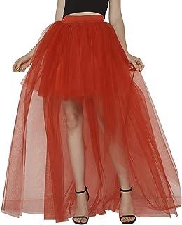 LAUSONS Faldas de Tul para Mujer Asimetrica - Falda Plisada Corto Frente Largo Atras