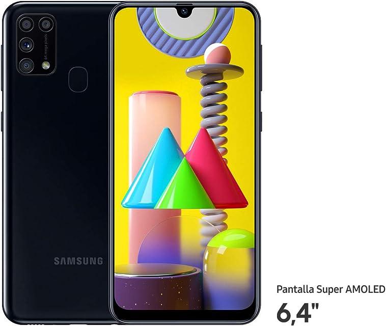 Samsung Galaxy M31 - Smartphone Dual SIM Pantalla de 6.4 sAMOLED FHD+ Cámara 64 MP 6 GB RAM 64 GB ROM Ampliables Batería 6000 mAh Android Versión Española Color Negro