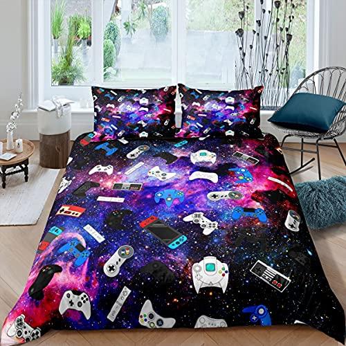 richhome Juego de funda de edredón para cama King y galaxia azul purpe 3 piezas para niños, juego de cama ultra suave, juego de cama para adolescentes, consola de juegos, dormitorio