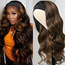 UNice FB30 Ombre Highlight Body Wave Headband Wigs Human Hair Balayage Brown Wig With Dark Roots, Brazilian Virgin Hair Glueless None Lace Front Wig Wear and Go 150% Density 20Inch