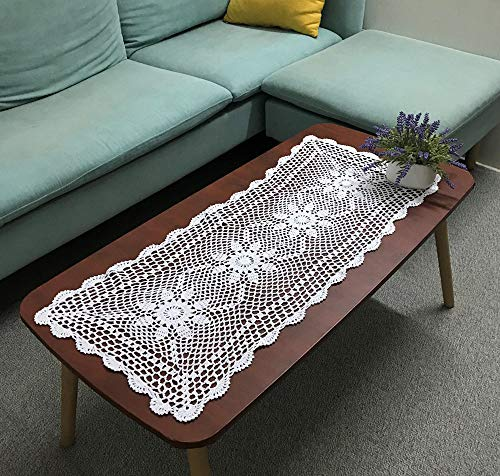 Hetao 16X35 100% Cotton Handmade Crochet lace Table Runners Oblong Tablecloth Doilies Doily,White