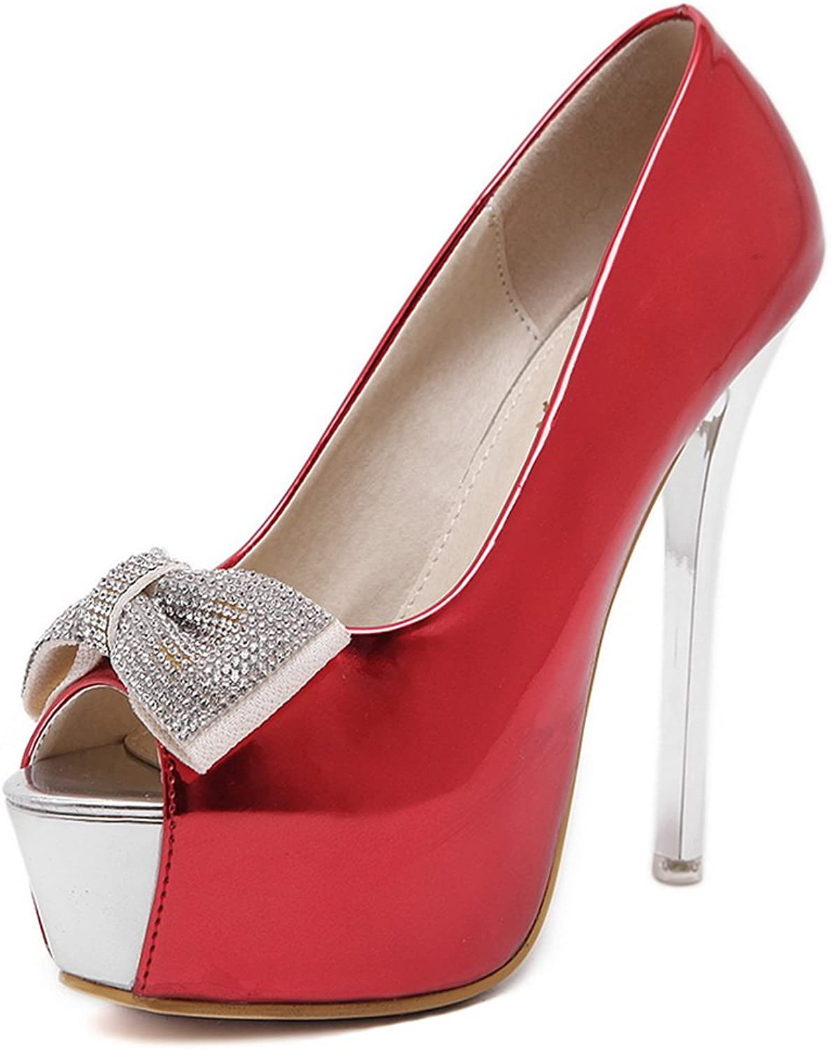 1TO9 Womens Bows Spikes Stilettos Peep-Toe Red Urethane Pumps shoes - 7.5 B(M) US