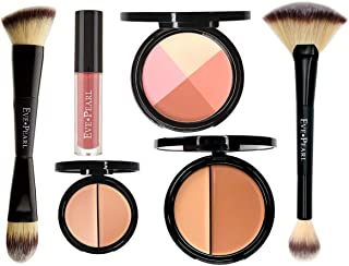 EVE PEARL 6 Pcs Flawless Face Collection Foundation Concealer Blush Lipstick And Brushes Set All In One Must Have Makeup Kit (Medium)