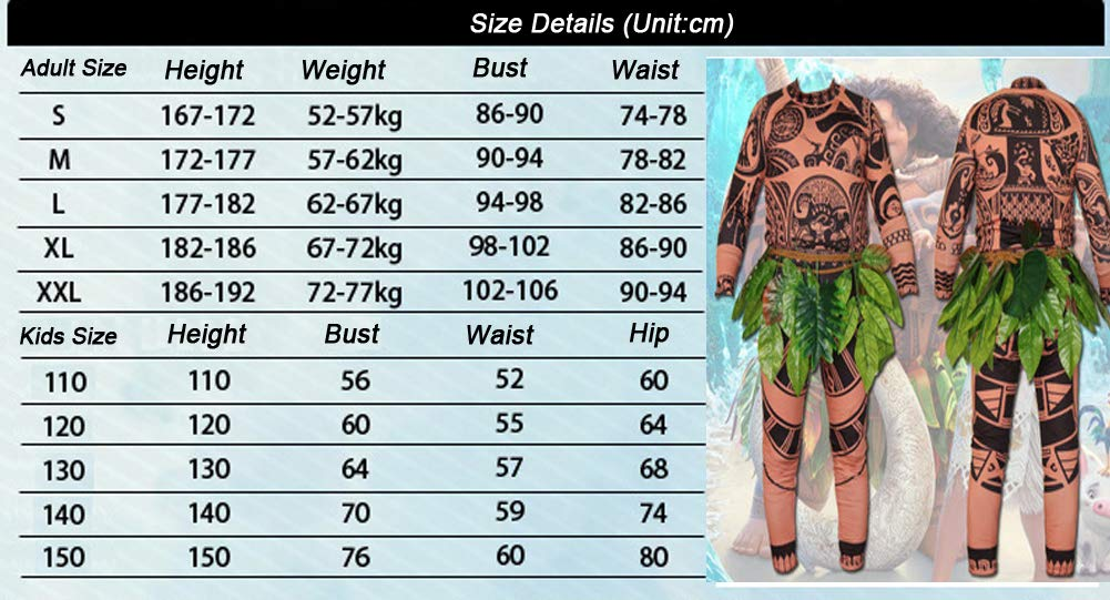 UK Stock Moana Maui Tattoo T Shirt //Pants Halloween Mens Cosplay Costume Outfits