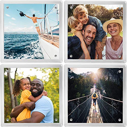 Coastix - Personalized Gift Photo Coasters (4 Piece Set) - Picture Frame Coasters for Drinks - Modern Acrylic Glass - Gift Box Coaster Holder - Custom Present for Hostess, Housewarming, Wedding - H.