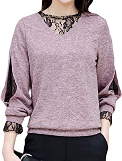 OTW Women Long Sleeve Sexy Lace Loose Fit Top T-Shirt Tee