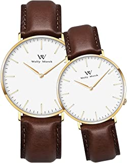 Welly Merck Couple Watches Valentines Day Gifts for Her and His Pair Watch Swiss Quartz 36 & 42 mm Interchangeable Band 50M Water Resistant