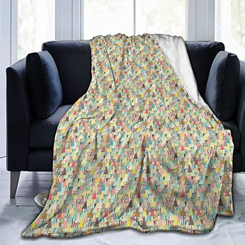 Manta mullida, triángulos geométricos consisten en lunares y rayas desgastadas en varios tonos, ultra suave manta para bebé, dormitorio, cama, TV, manta para cama de 80 x 60 pulgadas