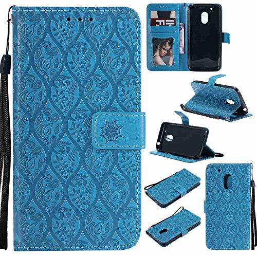 pinlu® PU Leder Tasche Handyhülle Für Lenovo Moto G4 Play (5.0 Zoll) Smartphone Wallet Hülle Mit Standfunktion & Kartenfach Design Rattan Blume Prägung Blau