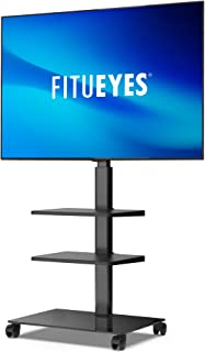 FITUEYES Mobile TV Stand for 32-60 Inch LCD LED Flat Curved TV, Tilt and Height Adjustable with Cable Management, Trolley ...