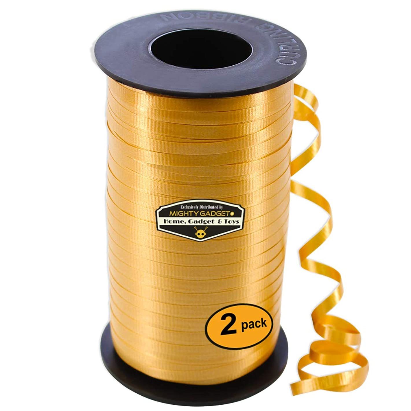2 Pack of Mighty Gadget Matte Gold Curling Ribbon & Ballon Ribbon 3/16-Inch Wide by 1500 feet Long Spool