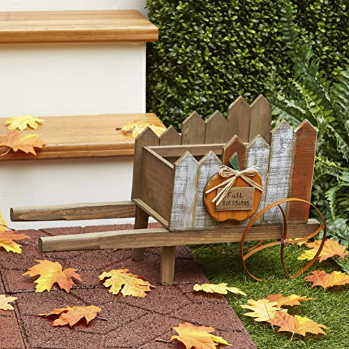 The Lakeside Collection Decorative Wheelbarrow Planter with Rustic Pumpkin for Fall, Halloween, Harvest