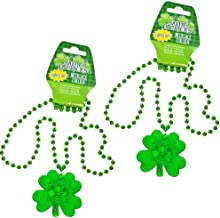 2 Set St. Patrick's Day Plastic Light-Up Shamrock Necklaces, LED Battery Included, Happy Saint Patrick Day Party Play Costume, Bar Decorative Seasonal Green Patty.