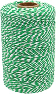 656 Feet/200M Green and White Cotton String,Cotton Baker's Twine Crafts String Perfect for DIY Crafts,Gift Wrapping