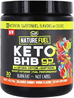 Nature Fuel Keto BHB Powder, with Natural Caffeine & Adaptogens, Delicious Gummy Worm Flavor, 30 Servings