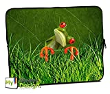 MySleeveDesign Laptoptasche Notebooktasche Sleeve für 10,2 Zoll / 11,6-12,1 Zoll / 13,3 Zoll / 14 Zoll / 15,6 Zoll / 17,3 Zoll - Neopren Schutzhülle mit VERSCH. Designs - Orange Frog [10]