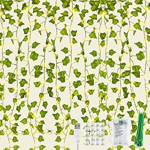 KASZOO 12 Stück Efeu Künstlich Efeu Lichterkette, Künstlich Efeugirlande mit 252 LEDs Lichterketten Vorhang, für Hochzeit Büro Garten Party Wanddekoration