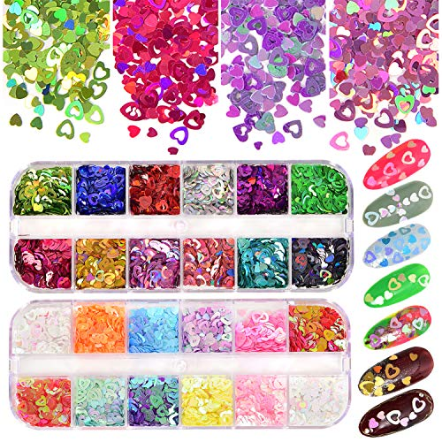 Nail Art Heart Shaped Glitter 24 Color Hollow Heart Shaped Nail Sequins Holographic Heart Shaped Mix 2mm 3mm 4mm Various Sizes Nails and Face Hair Decoration DIY Crafts
