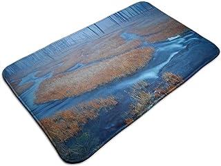 Uosliks Nature Forest Blue River Wallpaper Alfombrilla para Puerta Interior Duradera fácil de Limpiar