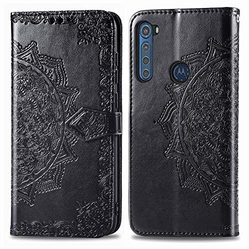 DOHUI für Motorola One Fusion Plus Hülle, Ultra Slim Premium PU Leder Flip Wallet Tasche mit Standfunktion & Magnetisch Schutzhülle Handyhüllen(Schwarz)