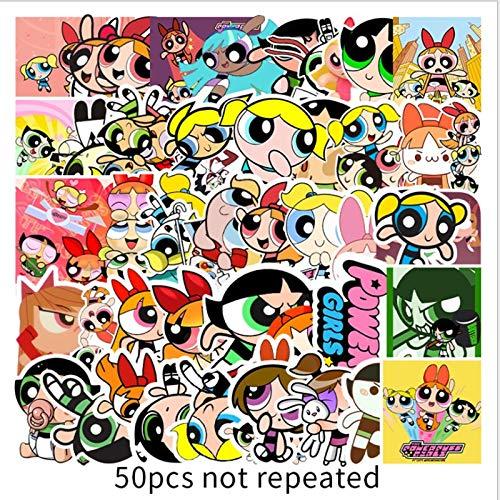 Powerpuff Girls Graffiti Waterproof Skateboard Travel Suitcase Phone Laptop Luggage Stickers Cute Kids Girl Toys 50Pcs