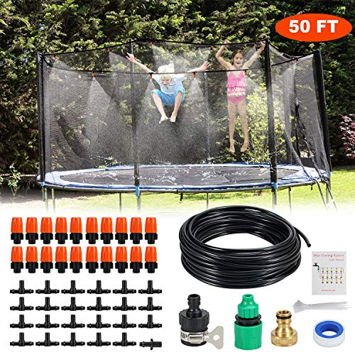 Trampoline Sprinkler Outdoor Waterpark DIY 50 Feet 20 Nozzles for Outdoor Misting Cooling System Kits Summer Game Toys Accessories for Kids Patio Garden Greenhouse Lawn