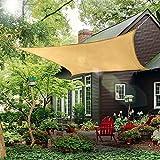 COCONUT Outdoor Sun Shade Sail Canopy, 10' x 14' Rectangle Shade Cloth Patios Cover - Sunshade Fabric Awning Shelter for Pergola Backyard Garden Lawn (Sand)