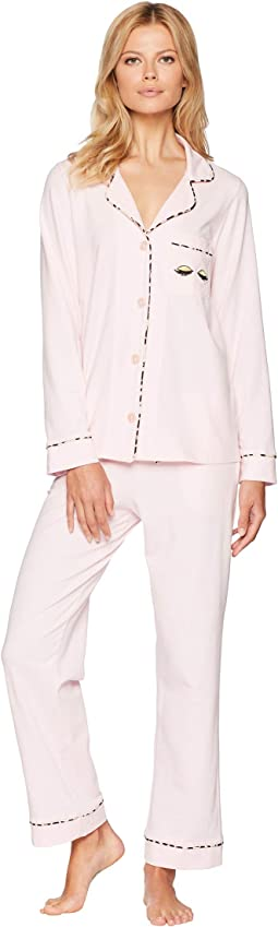 Notch Collar Pajama Set with Eyelashes