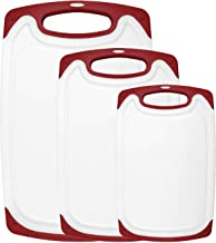 HOMWE Kitchen Cutting Board (3-Piece Set) | Juice Grooves w/Easy-Grip Handles | BPA-Free, Non-Porous, Dishwasher Safe | Mu...