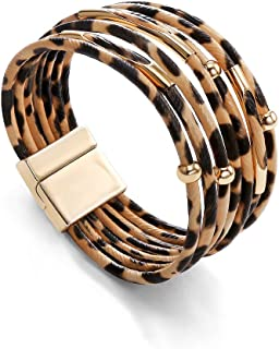 LILIE&WHITE Women Leopard Bracelets Multi-Layers Faux Leather Wrap Magnetic Clasp Bracelets Animal Print Jewelry Gift