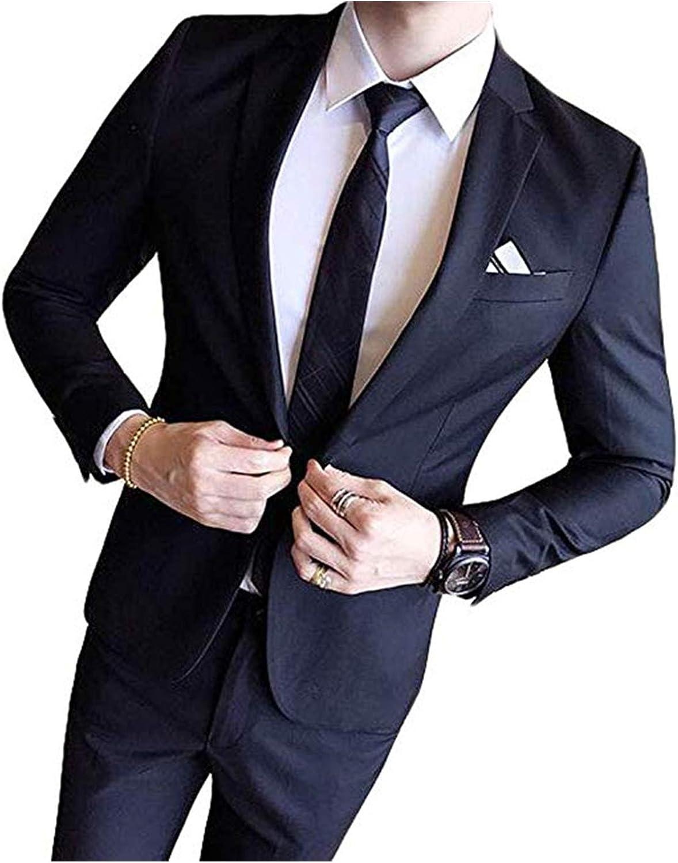 Men's One Button Suit 2 Pieces Slim W Peak Overseas parallel import regular item overseas Fit Lapel Casual
