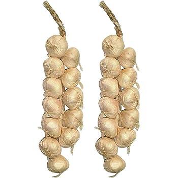 UKCOCO 2Piece 20 Inch Garlic Strings//Artificial Vegetables//Artificial Garlic Beige