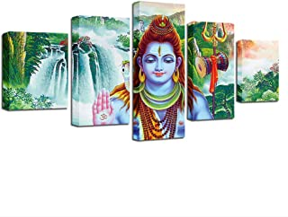 ZHFFYY Canvas Painting 5 Piece Canvas Paintings Living Room Decor Wall Art 5 Pieces India God Shiva Poster Hd Prints Abstract Waterfall Scenery Pictures Framed