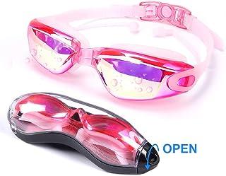 WHATOOK Gafas de natación, gafas de natación 3D de ajuste ergonómico, silicona premium con tapón para los oídos, sin fugas, con protección UV, antivaho, gafas de natación, correa ajustable para adultos, hombres, mujeres, adolescentes