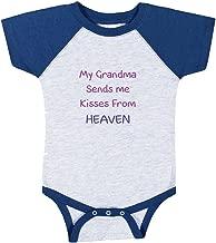 My Grandma Sends Me Kisses from Heaven Baby Baseball Raglan Bodysuit Grey/Royal Blue 6 Months