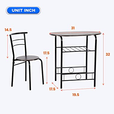 3-Piece Round Table and Chair Set for Kitchen Dining Room Bar Breakfast,Compact Space Metal Frame,Wine Rack
