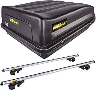 JEGS 90098K Rooftop Cargo Carrier Kit with Roof Rack Cross Bars