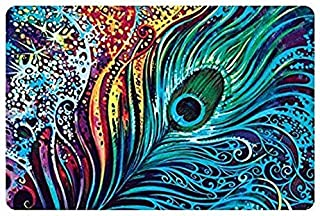 Ihome888 Custom Peacock Feather Bath Mats and Rugs, Polyester Fabric Non Slip Rubber Backing for Bathroom Kitchen, 24L x 16W Inch (Peacock)