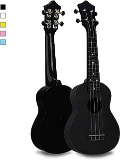 Soprano Ukulele Hawaiian Guitar Musical Instrument with Nylon Strings for Beginners Kids Students, FUYXAN 21 Inch Ukulele Toy for Kids Starter Uke for Gift, Black