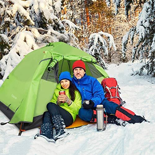 Tolaccea Zelt 2 Personen Ultraleichte Camping Zelt Aluminiumstangen Trekkingzelt Automatisches Schnellöffnungszelt sekundenzelt für Trekking, Festival, Camping und Outdoor Grün