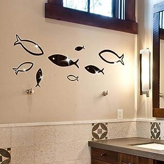 JoyFan Décoration à la Maison Acrylique de Stickers de Mur de Mirro de Poissons de Monde sous-Marin 3D