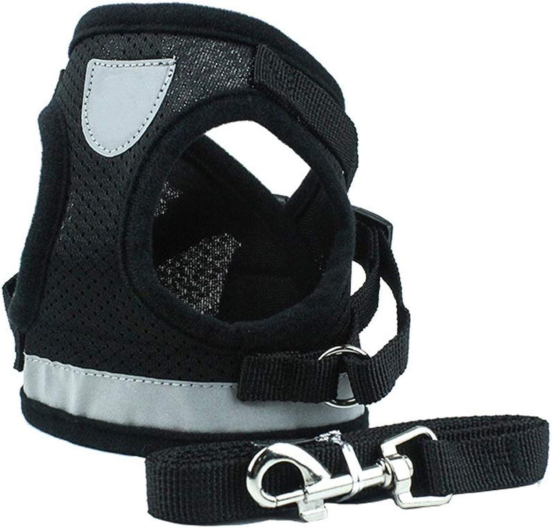 Pet Leash Dog Leash, Vest Pet Chest Strap Reflective Dog Rope Pet Supplies (color   Black, Size   M)