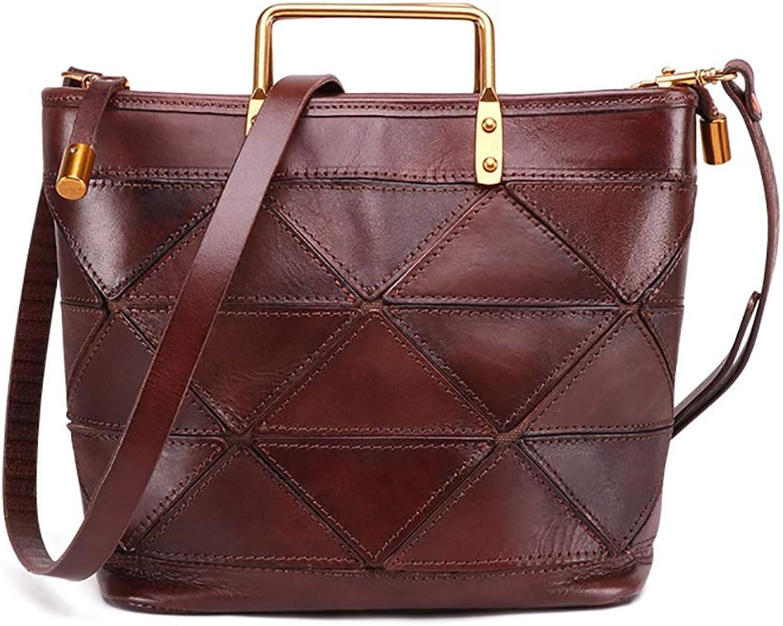 Sturdy New Leather Female Handbag Vegetable Tanned Leather Retro Lady Handbag Ladies Shoulder Handbag Large Capacity (color   Coffee, Size   Free Size)