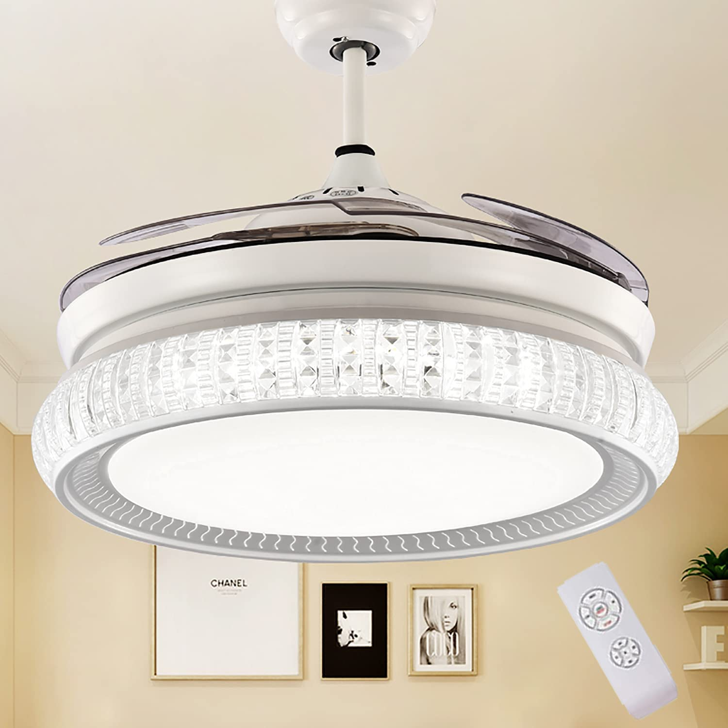 Iammix 35% Credence OFF 42in Modern Crystal Ceiling Remote with Lights Contro Fan
