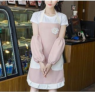 薄いセクションかわいいファッションホームキッチン大人用防水防水コットンエプロン2個/ロット エプロンキッズ (Color : Pink+sleeves, UnitCount : 2PCS)