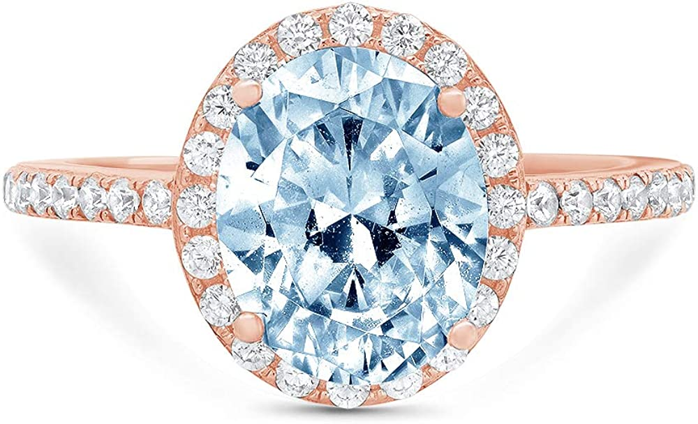 3.42ct Brilliant Oval Cut Solitaire with Accent Halo Natural Sky Blue Topaz Gem Stone Ideal VVS1 Engagement Promise Statement Anniversary Bridal Wedding ring Real 14k Pink Rose Gold