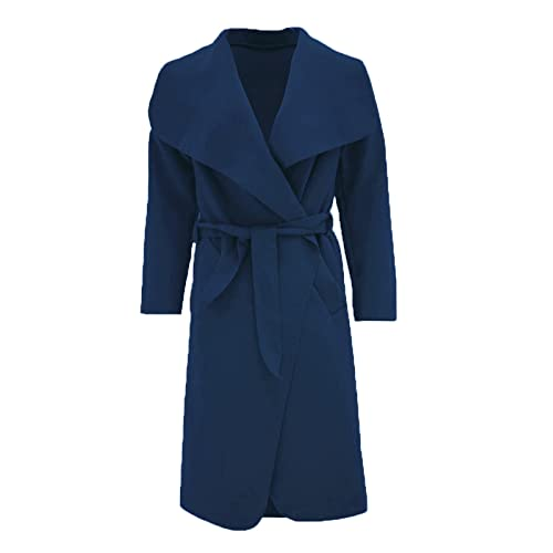 8445fe986a5 Malaika ® Womens Ladies Waterfall Long Full Sleeves Cape Cardigan Belted  Jacket Trench Coat - Available